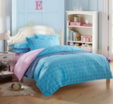 Modern Grids Blue And Pink Teen Bedding Duvet Cover Set
