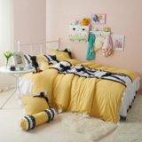 Black Temptation Polka Dots Yellow Princess Bedding Girls Bedding Duvet Cover Set