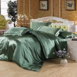 Pure Enjoyment Army Green Silk Bedding Silk Duvet Cover Set