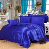 Royal Blue Silk Bedding Set Duvet Cover Silk Pillowcase Silk Sheet Luxury Bedding