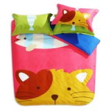 The Cute Cat Light Red Cartoon Animals Bedding Kids Bedding Teen Bedding
