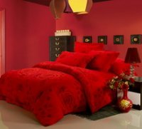 Deep Red Roses Cheap Modern Bedding Sets