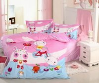 White Cloud Rabbits Pink Discount Kids Bedding Sets