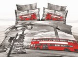 Red Double Decker Bus Gray 3d Bedding Luxury Bedding