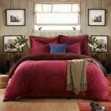 Wine Red And Coffee Flannel Bedding Winter Bedding