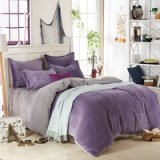 Lilac And Silver Gray Flannel Bedding Winter Bedding
