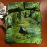 Peacock Green Bedding 3d Duvet Cover Set