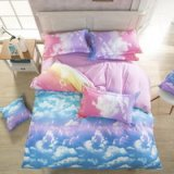 Colorful Clouds Pink Bedding Set Modern Bedding Cheap Bedding Discount Bedding Bed Sheet Pillow Sham Pillowcase Duvet Cover Set