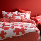 Jigsaw Puzzles Red Bedding Kids Bedding Teen Bedding Dorm Bedding Gift Idea