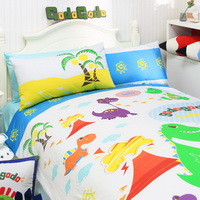 Dinosaur And Volcano White Dinosaur Bedding Set