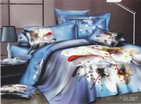 Plum Flower Blue Ladybug Bedding Set