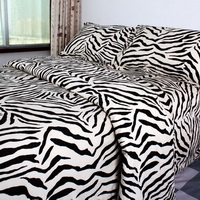 Pima Cotton Black Zebra Print Bedding Set