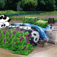 Lavender And Panda Bedding 3D Duvet Cover Set