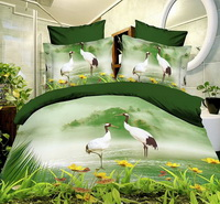 Red Crowned Crane Green Bedding 3D Duvet Cover Set