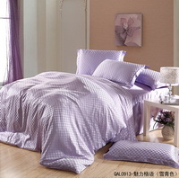 Beautiful Grid Violet Duvet Cover Set Silk Bedding Luxury Bedding