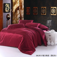 Beautiful Grids Wine Red Silk Bedding Modern Bedding