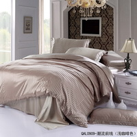 Beautiful Stripes Light Brown Silk Bedding Modern Bedding