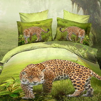 Leopard On The Grass Green 3d Bedding Luxury Bedding