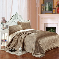Blooming Flowers And Full Moon Beige Silk Duvet Cover Set Silk Bedding