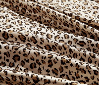 Cheetah Print Leopard Print Beige Silk Duvet Cover Set Silk Bedding