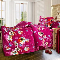 Colorful And Romantic Winter Duvet Cover Set Flannel Bedding