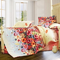 Flowers Of March Winter Duvet Cover Set Flannel Bedding