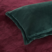 Dark Green And Wine Red Flannel Bedding Winter Bedding
