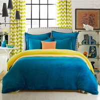 Peacock Blue And Apple Green Flannel Bedding Winter Bedding