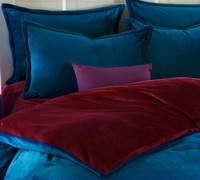 Peacock Blue And Wine Red Flannel Bedding Winter Bedding