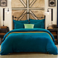 Peacock Blue Flannel Bedding Winter Bedding