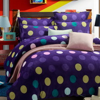 Polka Dot Purple Style Bedding Flannel Bedding Girls Bedding