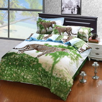 Gift Ideas Cheetah Green Bedding Sets Teen Bedding Dorm Bedding Duvet Cover Sets 3D Bedding Animal Print Bedding