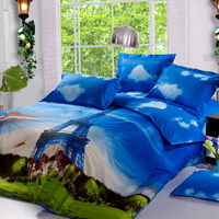 Eiffel Tower Blue Bedding Sets Duvet Cover Sets Teen Bedding Dorm Bedding 3D Bedding Landscape Bedding Gift Ideas