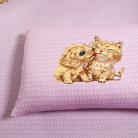 Puppy Kiss Kitty Pink Cartoon Bedding Kids Bedding Girls Bedding Teen Bedding