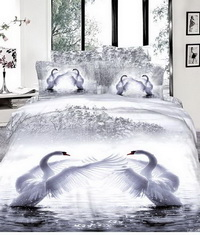 Swan Lake White Bedding Animal Print Bedding 3d Bedding Animal Duvet Cover Set