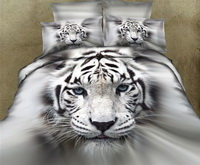 The King Of White Tigers White Bedding Animal Print Bedding 3d Bedding Animal Duvet Cover Set