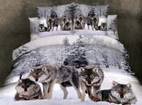 Wolves White Bedding Animal Print Bedding 3d Bedding Animal Duvet Cover Set