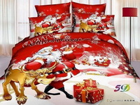 Santa Claus Merry Christmas Red Bedding Christmas Bedding Holiday Bedding