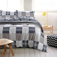 Life Style Stripes And Plaids Blue Bedding Set Teen Bedding Dorm Bedding Bedding Collection Gift Idea