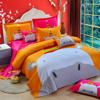Hippo Orange Bedding Set Kids Bedding Duvet Cover Set Gift Idea