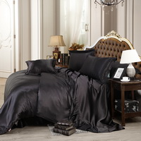 Black Silk Bedding Set Duvet Cover Silk Pillowcase Silk Sheet Luxury Bedding