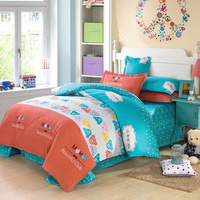 Bear Park Blue Bedding Set Kids Bedding Teen Bedding Duvet Cover Set Gift Idea