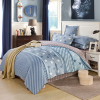 Happy Stars Blue Bedding Set Kids Bedding Teen Bedding Duvet Cover Set Gift Idea
