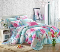 Butterfly Lovers Blue Bedding Set Girls Bedding Floral Bedding Duvet Cover Pillow Sham Flat Sheet Gift Idea