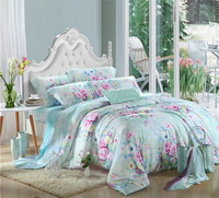 Country Charm Blue Bedding Set Girls Bedding Floral Bedding Duvet Cover Pillow Sham Flat Sheet Gift Idea