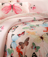 Dancing With Butterflies Pink Bedding Set Girls Bedding Floral Bedding Duvet Cover Pillow Sham Flat Sheet Gift Idea