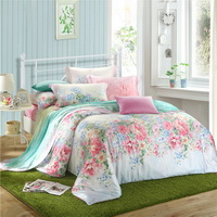 Flower Dream Green Bedding Set Girls Bedding Floral Bedding Duvet Cover Pillow Sham Flat Sheet Gift Idea
