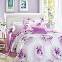 Flower Language Purple Bedding Set Girls Bedding Floral Bedding Duvet Cover Pillow Sham Flat Sheet Gift Idea