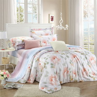 Gentle Breeze Pink Bedding Set Girls Bedding Floral Bedding Duvet Cover Pillow Sham Flat Sheet Gift Idea