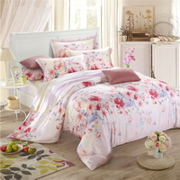 Ink Painting Flowers Pink Bedding Set Girls Bedding Floral Bedding Duvet Cover Pillow Sham Flat Sheet Gift Idea